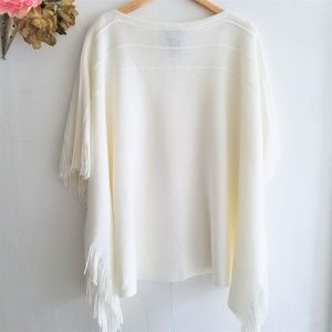 Off White Poncho Sweater With Fringe